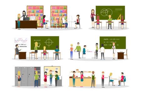 Conjunto de interiores de escuela. Ilustraciones aisladas sobre fondo blanco.