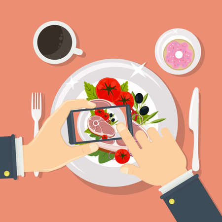 food: Taking food fotos. Hands holding smartphone and taking fotos of steak. Illustration