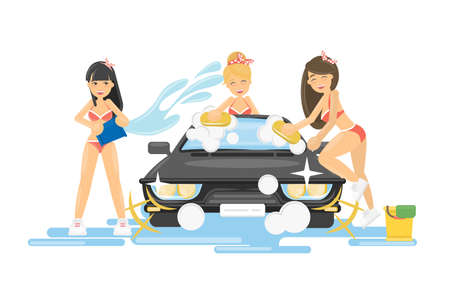 Girls wash the car. Sexy beautiful girls in bikini wash the car with soap and sponge.