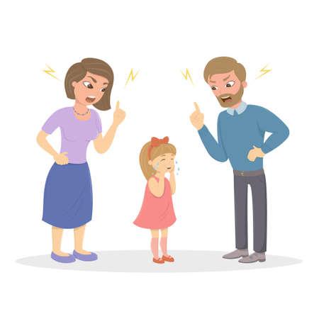 Los padres abusan de la niña. Mamá y papá enojados le gritan a un niño asustado. Personajes sobre fondo blanco. Abuso de niños.