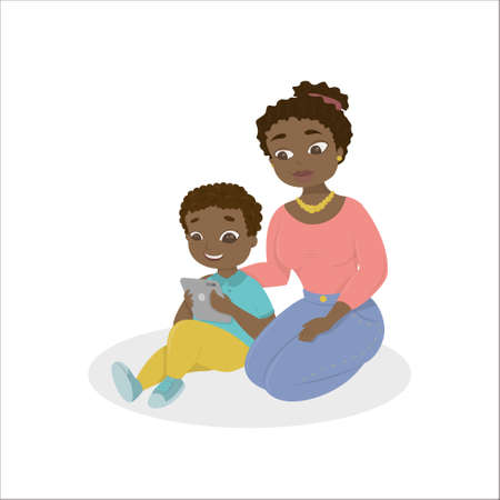 teaches: Mom teaches the kid how to use the tablet. Illustration
