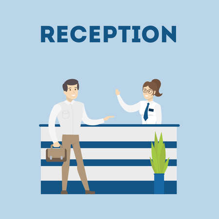 Reception in bank. Female bank worker welcomes male visitor. Stock Illustratie