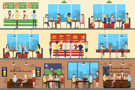 Cafe interior set. Pizza, fast food and sport bar. Vectores