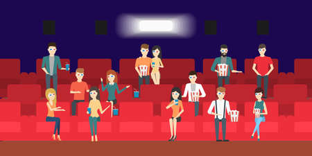 People in the cinema. Men and women in 3d glasses with popcorn and soda drink. Vectores