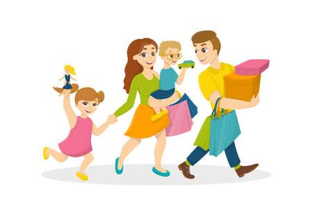 Familia hacer compras. Felices padres con niños con bolsas de la compra. Vectores