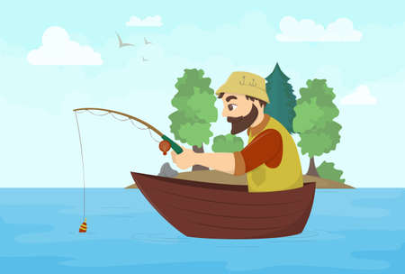 Fisherman on a boat. Landscape with river or lake and trees. Illustration