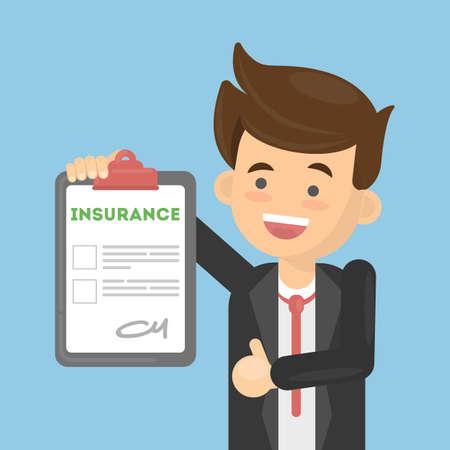Mann genehmigt Versicherungsdokument. Gesundheitswesen oder Auto-, Haus- oder Finanzsicherheit.