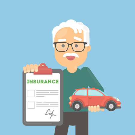 Man shows car insurance. Happy senior holds car and document.