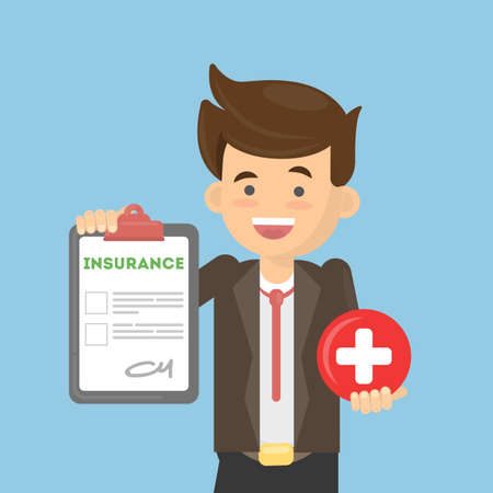 Man shows insurance. Young guy holds healthcare sign of red cross and document. Illustration
