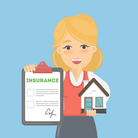 insurance claim: Woman shows house insurance. Real estate safety and saving. Smiling lady holds house. Illustration