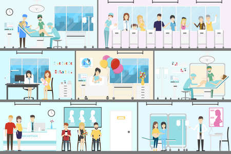 mother and baby: Maternity hospital interior set. Newbornes with parent and doctors. Illustration