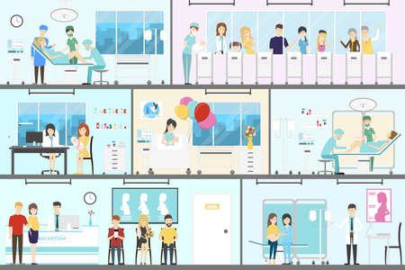 Maternity hospital interior set. Newbornes with parent and doctors. Stock Illustratie
