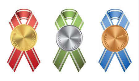 Ribon medals set on white background. Golden, silver and bronze. Illustration
