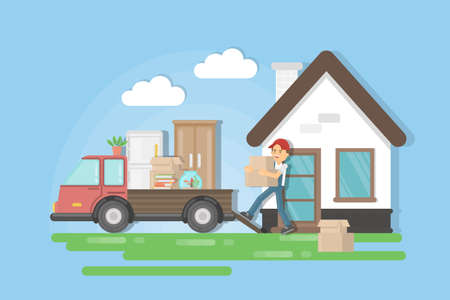 Moving to a new house. Man in uniform picks the furniture and puts it on the truck. Illustration