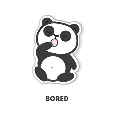yawning: Bored panda bear. Isolated cute sticker on white background.