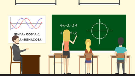 first grade: Math in class. Teacher with pupils. Trigonometry at rhe chalkboard. Illustration