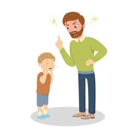 Vader misbruik de zoon. Boze vader schreeuwt bij weinig bang jongen. Karakters op een witte achtergrond. Kinderen misbruiken.
