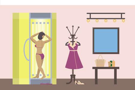 Mujer en solarium. Salón de belleza y tratamiento spa. Mujer con piel de bronce.
