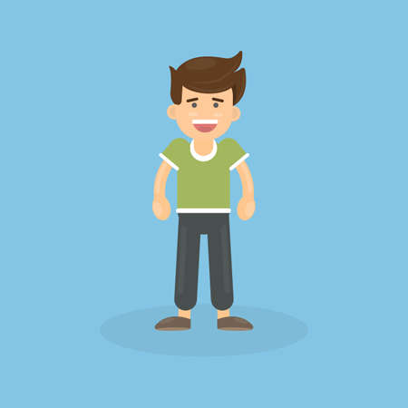 Isolated boy character on blue background. Smiling and handsome. Illustration