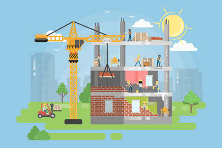 Constructing new building. People work on housing development with crane. Illustration