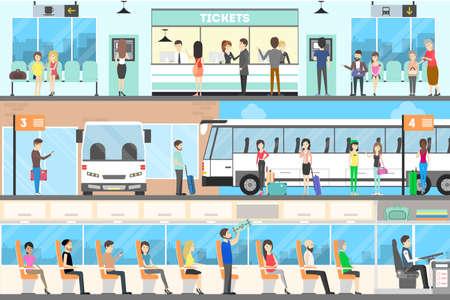 バス内装セット。バス、バス停、購入チケットの座席します。  イラスト・ベクター素材