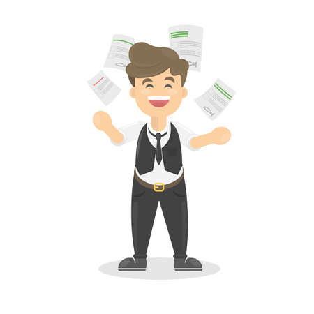madness: Businessman throws paper in happiness. Concept of end of work or happy friday.