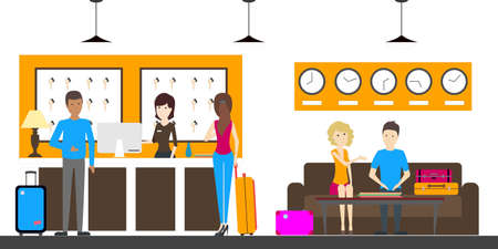 hotel staff: Reception in hostel. Visitors with luggage and new keys. Illustration