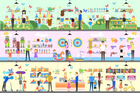Toy shop interior set. Children with parents want to buy the toys.