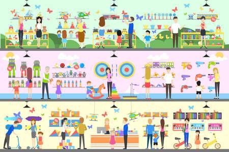Speelgoedwinkel interieur set. Kinderen met ouders willen het speelgoed kopen.