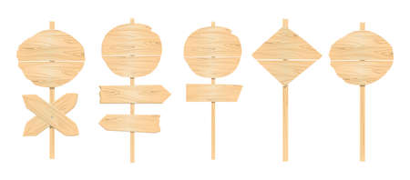 plywood: Wooden pointers set on white background. Signposts, banners and more.