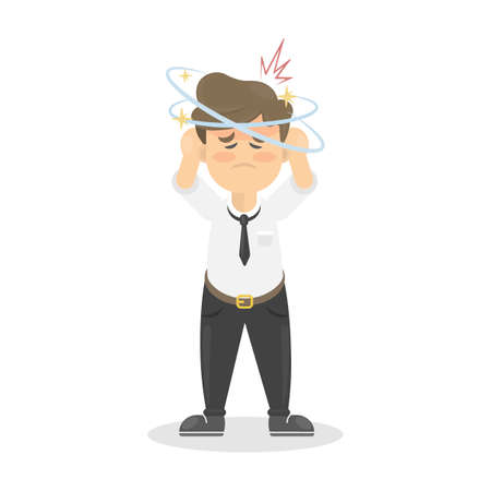 screwed: Businessman with headache. Sick man is ill. Isolated character on whte.