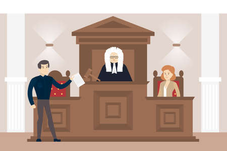 courthouse: Judge in court. Judging guilty person with law. Illustration