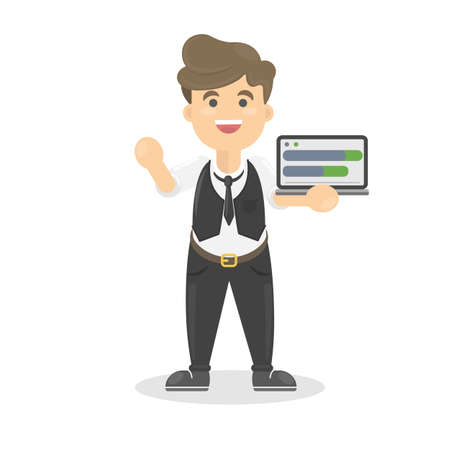 investor: Businessman with tabet that shows the schedule. Illustration
