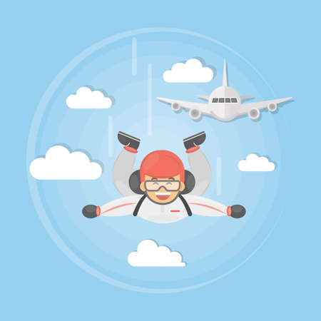 Skydiving active sport. man in uniform jumps off the plane with parachute. Illustration