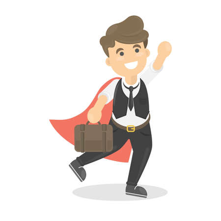 Businessman is super man with red cloak standing with briefcase. Illustration