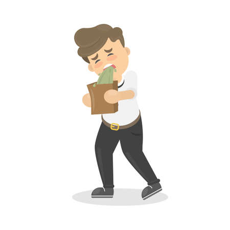 nauseous: Isolated man vomits. Cartoon character on white background. Illustration