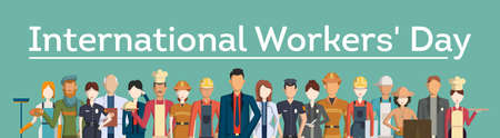 workers rights: International workers day. People with different jobs as plumber, doctor and more.