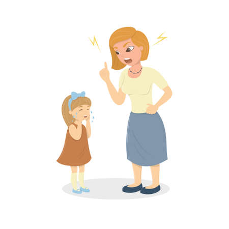 Mother abuse the daughter. Angry mother yells at little scared kid. Characters on white background. Childrens abusing. Illustration