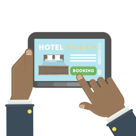 Online Hotel Booking. Hands Holding Tablet To Book A Room In ...