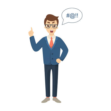 cursing: Isolated cursing businessman on white background in suit.