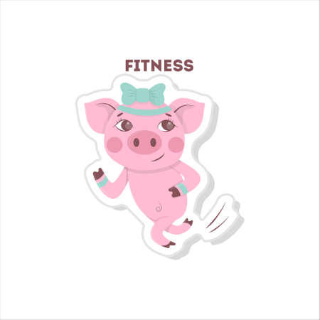 bicep curls: Pig does fitness. Isolated cartoon sticker. Running