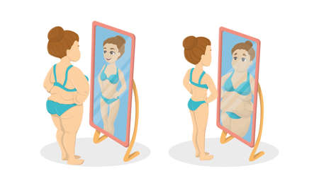 Fat and skinny women in the mirrors. Concept of anorexia and bulimia. Иллюстрация