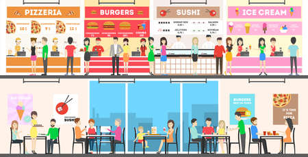 Food court interior set. People buy fast food and drink. Ilustração