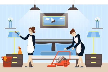 hotel staff: Hotel room cleaning service. Maids in unifrom clean the rom.