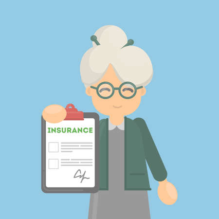 insurance claim: Old woman approves insurance document. Health care or car, house or finance security.