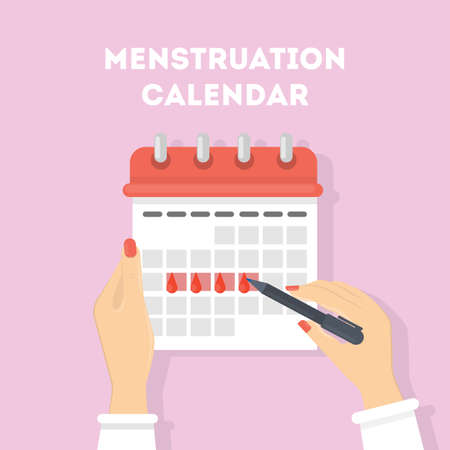 Menstruation calendar illustration. Red signs of menstrual cycle.