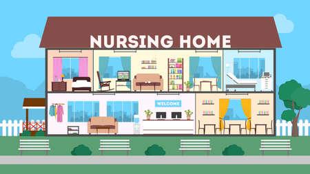 外の特別養護老人ホーム。緑の風景。クリニック内部