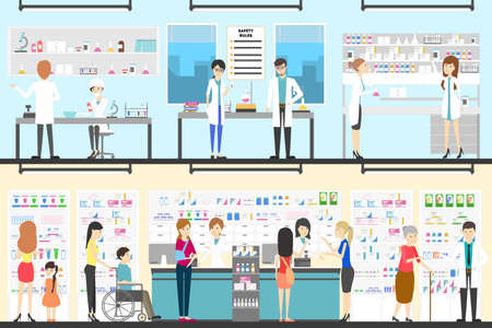 Pharmacy interior set. People in drug store with pharmacists.