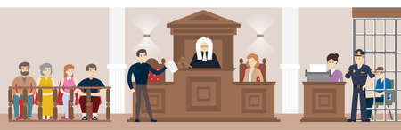 Judge in court. Judging guilty person with law and witnesses, Illustration