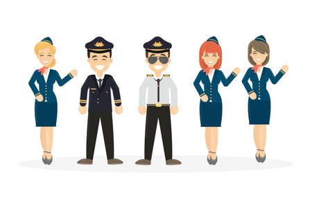 Pilots crew on white background. Pilots wih stewardesses.
